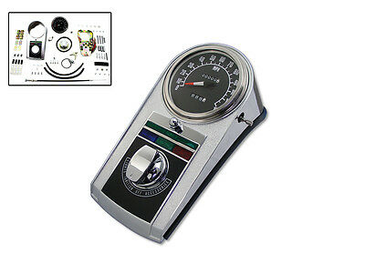 Chrome Cast Dash Panel Kit with 2:1 Ratio Speedometer,for Harley Davidson mot...