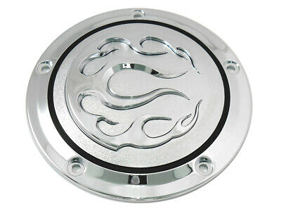 Chrome 5-Hole Flame Derby Cover,for Harley Davidson motorcycles,by V-Twin