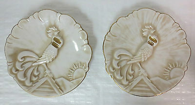 *rare* Royal Haeger Rooster Display Plates (2) 22K Gold Tweed Pottery #1048-H