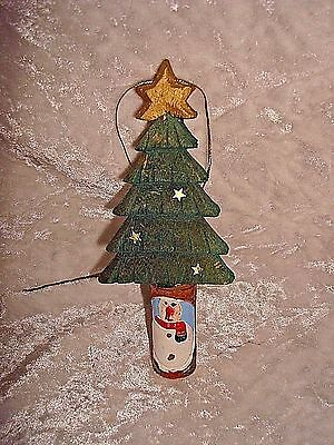 Wood Carved Snowman Christmas Tree Ornament