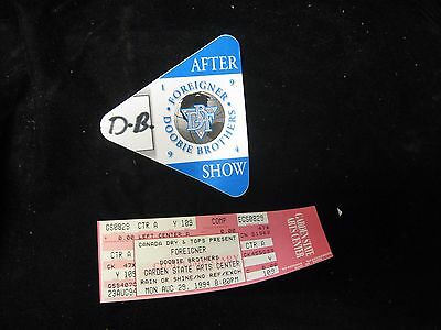 1994 DOOBIE BROTHERS After Show Pass and Ticket Concert Stub Garden State NJ
