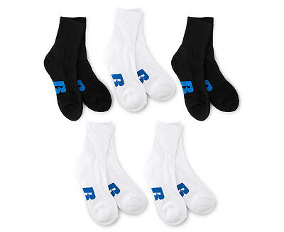 Russell Athletic Boys' Size 2-8 Crew Sock Mixed 5-Pack - Black/White
