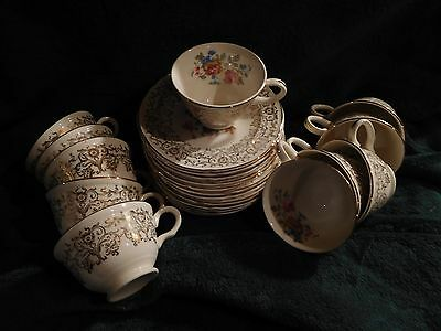 Knowles China ~ Ten Demitasse Cups and Saucers - Vintage ~ Mint ~ Florals