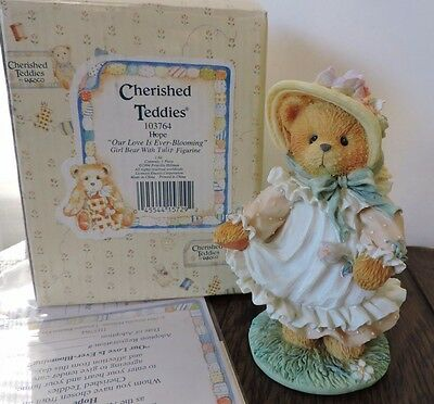 Cherished Teddies HOPE Our Love Is Ever Blooming Tulip 103764 COA