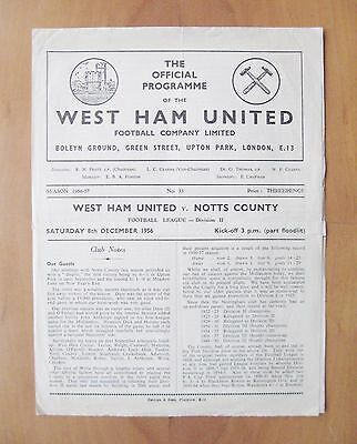WEST HAM UNITED v NOTTS COUNTY 1956/1957 *Good Condition Football Programme*