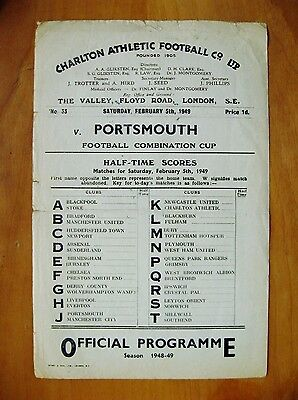 CHARLTON ATHLETIC v PORTSMOUTH Reserves Comb Cup 1948/1949 *Rare Single Sheet*