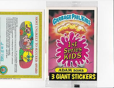1986 Garbage pail kids # 8 ADAM BOMB card with RARE variation on back