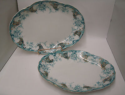 Antique New Wharf Pottery Platter Lot of 2 Teal Blue Green & Gold Lois Pattern