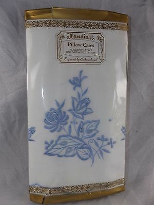 "Vintage Pair Embroidered Handiart Pillow Cases ~ Housewife Style ~ 18"" x 29"" NIP"