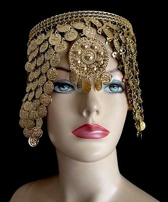 Cleopatra Headpiece Crown Made Of Egyptian Golden Coins Belly Dance hand made