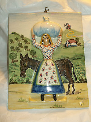 "Vintage Mexican/Peruvian Tile - Woman /donkey raised relief/signed 9 1/2""x7 1/2"