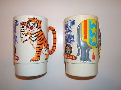 Ringling Brothers (2) Super 3-D Circus Cups/mugs. Vintage 1988