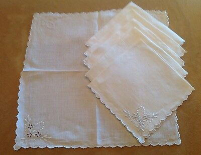 Six Vintage Light Beige Linen Napkins, Flower And Dot Embroidery, Cut Work