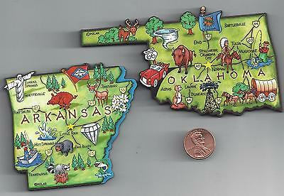 OKLAHOMA OK and ARKANSAS AR  ARTWOOD STATE MAP MAGNET SET -  2 NEW