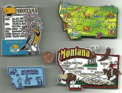 MONTANA  MT MAGNET ASSORTMENT 4 NEW  STATE SOUVENIRS including JUMBO MAP MAGNET