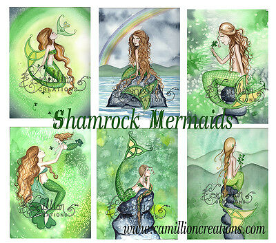 Shamrock MERMAID NOTE CARDS from Watercolors by Grimshaw St Patrick irish celtic