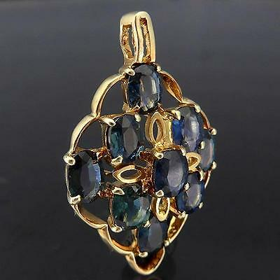 Fancy open 9 Natural Blue / Green SAPPHIRE set 14k Solid Yellow GOLD PENDANT