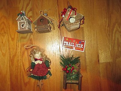 Lot of 5 Rustic Country Christmas Ornaments: Birdhouses Angel Chair EUC