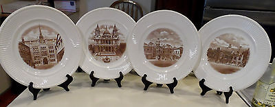 """10 1/2"""" Old London View's 4 Plates-1st Edition-British War Relief -Wedgwood 1941"""