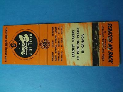 Rapid Grip & Batten Limited Printing Plate Canada Excise Tax Stamp  Matchbook