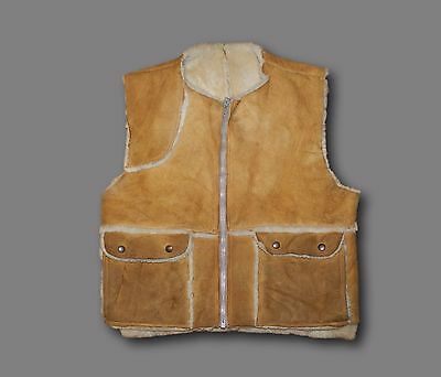 Vintage KNIGHT TAILORS LTD. Suede Leather Shearling Lined Zip Front Vest Sz 42