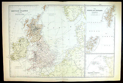 1861 Large Weller Antique Map British Isles Channel Is.