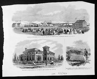 1864 ILN Engraving 3 Scenes in Canterbury, New Zealand