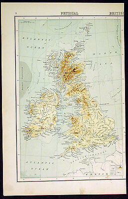 1890 Bartholomew Antique Geographical Map Great Britain