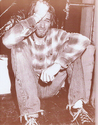 """Kurt Cobain Poster Print - 1990 - Crying On Stage In Seattle - 11""""x14"""" Sepia"""