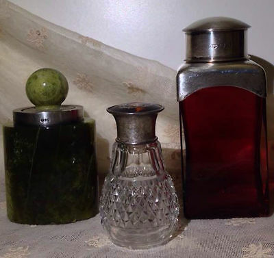 3 art deco' Birmingham bottle glass and green jade with hmarked silver stopper