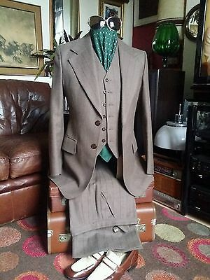 "Vtg Rare 70's Lord John 3-Piece Pin Stripe Wool Suit.Small C 37-38"",W 30-31"" vgc"