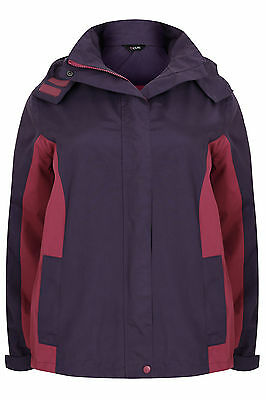 Yoursclothing Plus Size Womens Waterproof Rain Jacket With Removable Hood