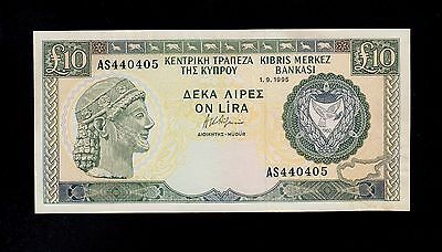 CYPRUS  10  POUNDS  1995   PICK # 55d AU  BANKNOTE.