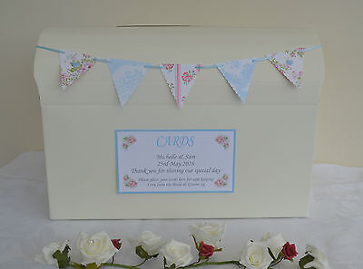 Personalised wedding card post box tall or chest guest book with floral bunting