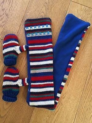 Next Baby/Toddler Boy's Scarf & Mittens Set: Striped Knitted Outer, Fleece Lined