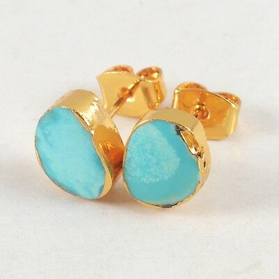 Natural Genuine Turquoise Stud Earrings Gold Plated H82006