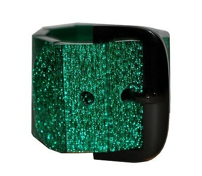 Fabulous Resin Wide Expandable Buckle Bracelet -Green Confetti And Black