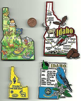 IDAHO MAGNET ASSORTMENT 4 NEW  STATE SOUVENIRS includes JUMBO and ARTWOOD MAP