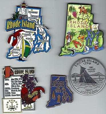 RHODE ISLAND RI MAGNET ASSORTMENT 5 NEW STATE SOUVENIRS includes  ARTWOOD MAP