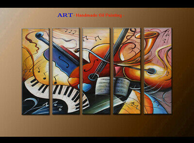 Large Modern Abstract musical oil painting Wall Art Canvas Framed Handmade F4050