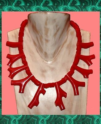 Spectacular French Red Resin Faux Coral Branch Bib Necklace