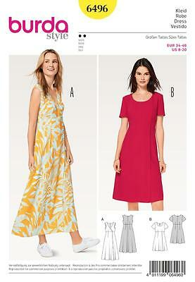 Burda Sewing Pattern Misses' Simple Dresses High Waist Wrap Look Size 8-20 6496