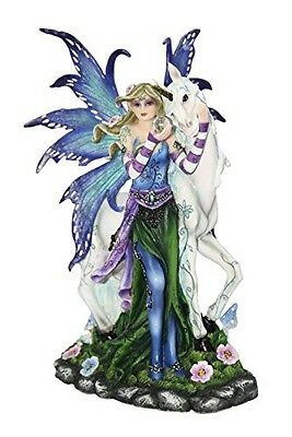 StealStreet Blue Fairy with Unicorn And Butterfly Collectible Figurine Statue