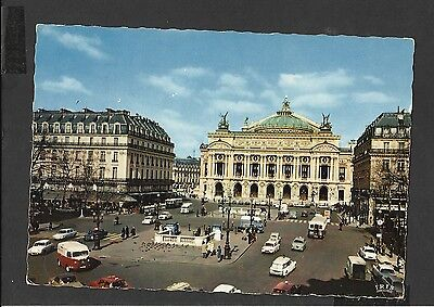 Vintage Colour Postcard General View Place de L'Opera Paris posted 1972