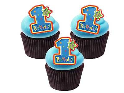 24 x First 1st Birthday Boy Blue Party Bag STAND UPS Edible Cup Cake Toppers