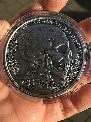 5 oz 999 Feinsilber Skulls & Scrolls Hobo Nickel Series Silber Antique Finish