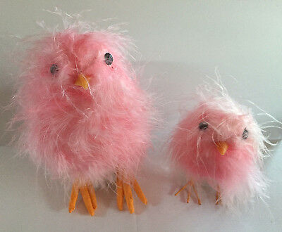E3603422 Set/2 RAZ Newborn Pink Feathered Chick Easter Spring Table Decoration