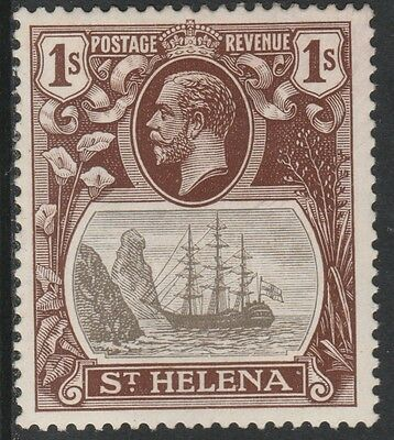 St Helena (1559) 1922 KG5 Badge Issue 1s with major variety mounted mint