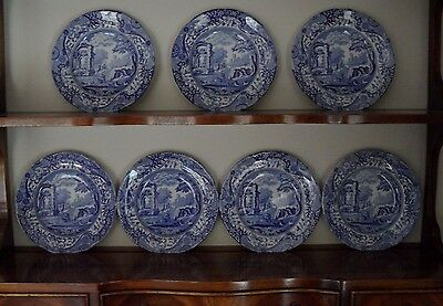 "A Set Of 7 Spode ""italian"" Tea Side Plates Blue & White"
