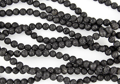 "4mm or 6mm Natural Black Lava Stone Beads Volcanic Full 15.5"" Strand FAST SHIP"